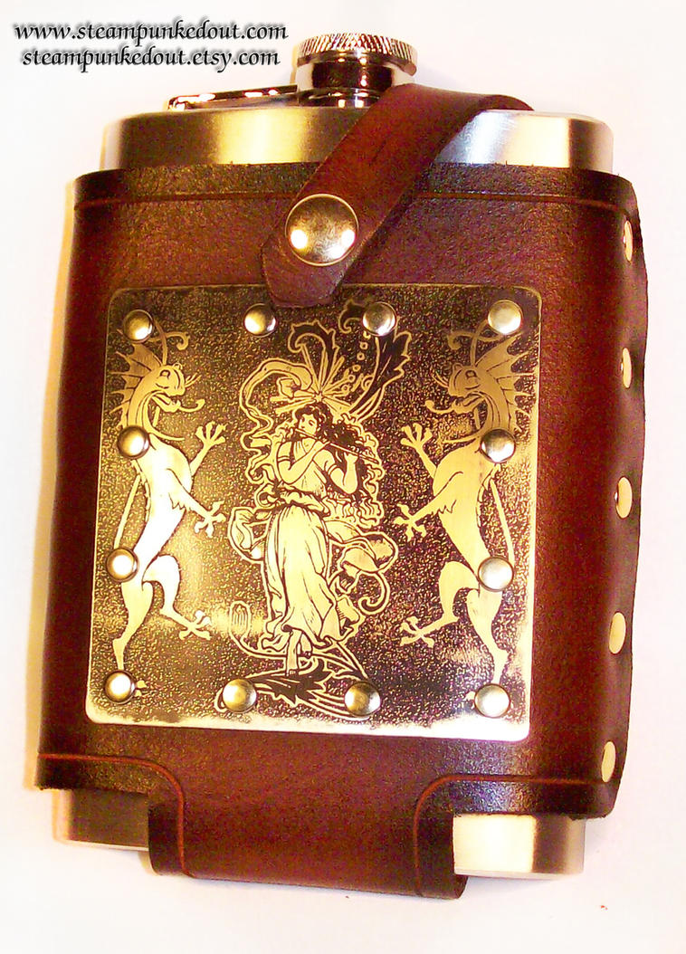 Art nouveau etched flask pouch2 by Steampunked-Out