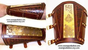 Etched Brass and Leather Bracer by Steampunked-Out