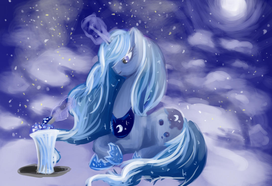 Luna and ice cream by Shizyaa