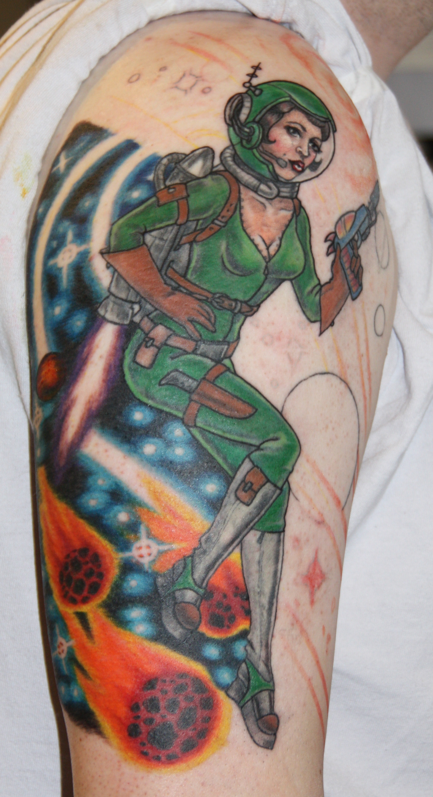WIP Space Pin Up Tattoo by Kennebel