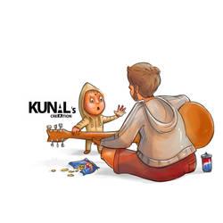 Baby teaching guitar