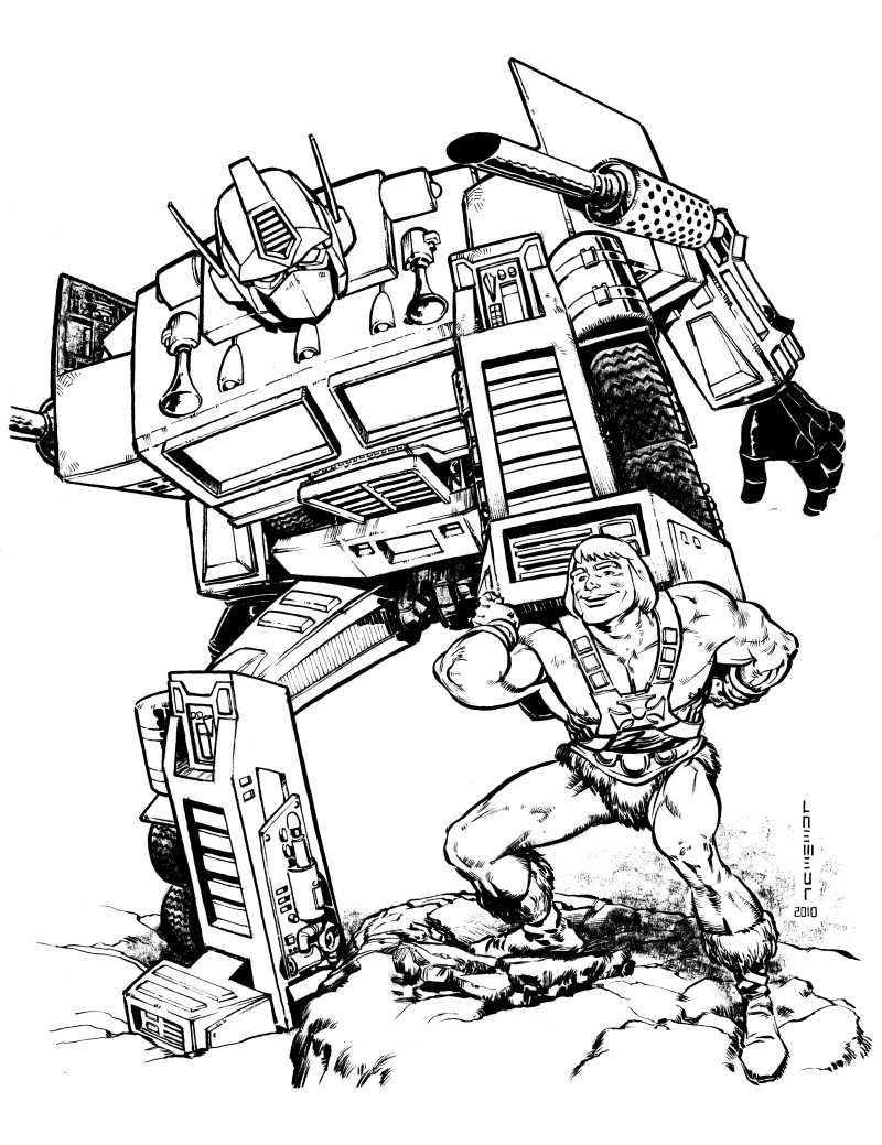 optimus prime and he man by laemeur on deviantart