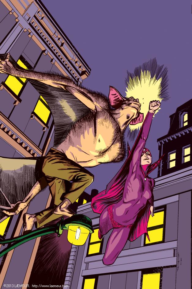 Man-Bat vs. Black Orchid (colour) by Laemeur