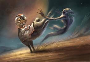 Space Llama Kicking Alien Butt! by gerezon