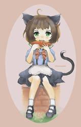Neko Maid Snack Time by ZeroMana83