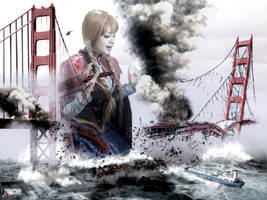 Mega Giantess Anna - Gouging The Golden Gate by GiantessStudios101