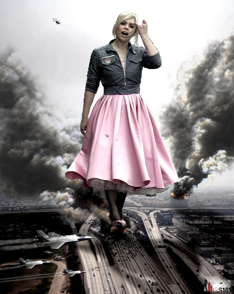 Giantess Rose Tyler Strolling Down The 405 by GiantessStudios101