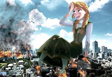 Mega Giantess Princess Anna - Exhausting Rampage by GiantessStudios101