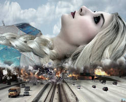 Mega Giantess Queen Elsa's Roadblock by GiantessStudios101