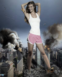 Giantess Nina Agdal Stretching In Shanghai by GiantessStudios101