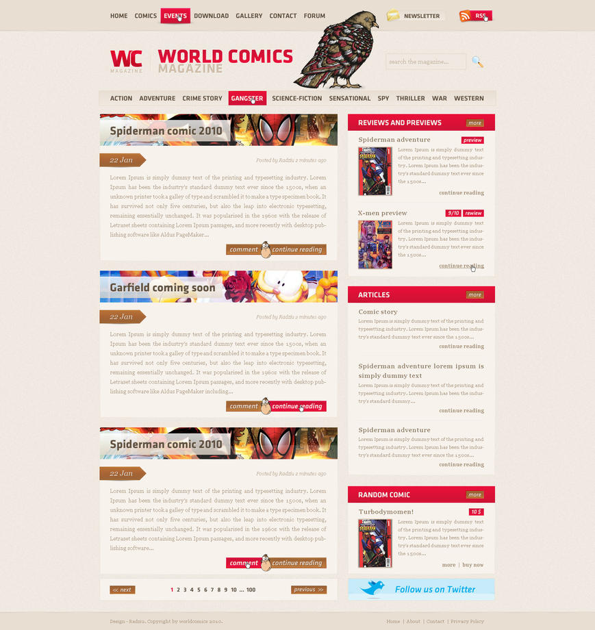 World Comics magazine by RadziuPL Web Interface Showcase: Effective & Clear Web Designs