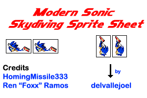 Modern Sonic Skydiving Sprite Sheet by HomingMissile333