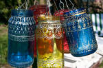 Upcycled Jar Lantern with gold Henna Style Accents