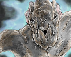 Cloverfield Monster painting by Bawarner