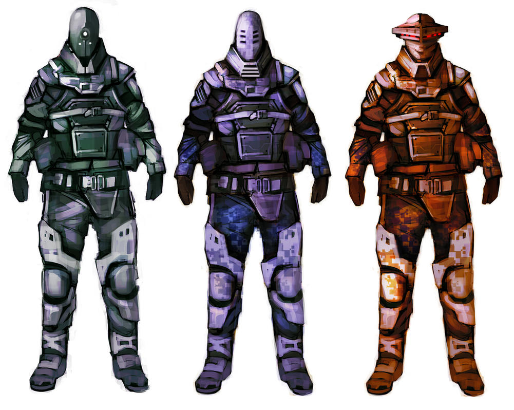 scifi soldier concepts by Bawarner