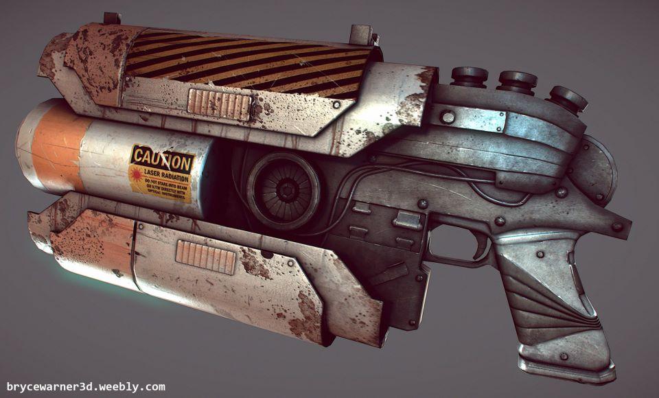 low poly sci fi gun by Bawarner