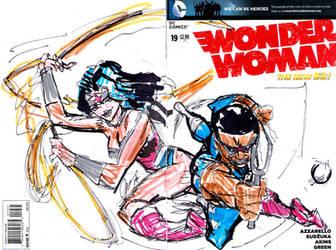 wonder woman with wonderboy by jose rodrigues art by joselrodriguesart