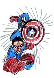 Cap and Bucky by jose rodrigues art