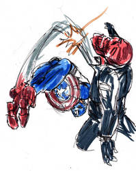 Red Skull gets the boot by jose rodrigues art