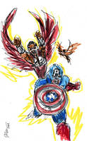 Cap and Black Falcon by jose rodrigues art