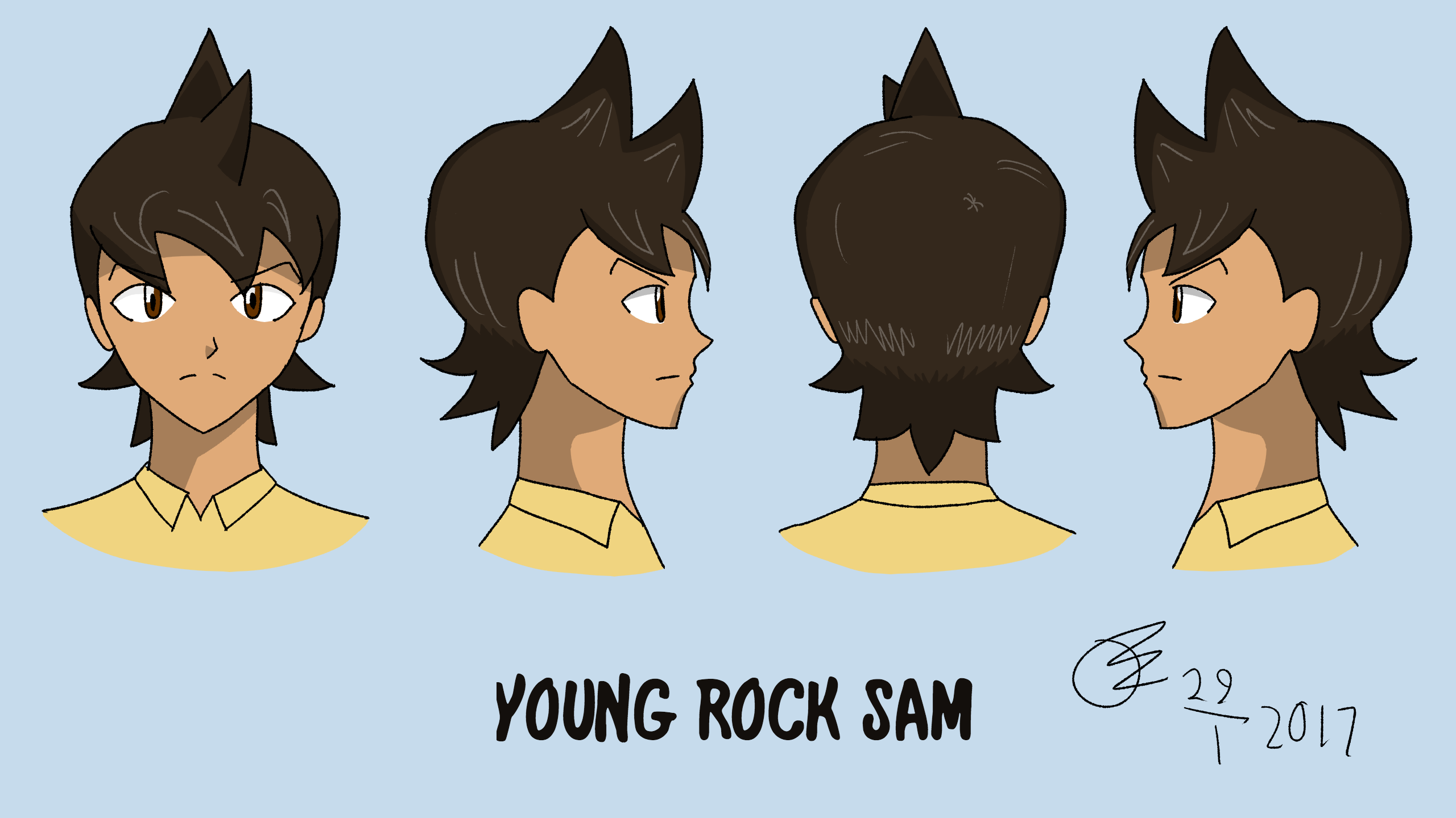 Young Rock Sam Reference Sheet 01 - Head Rotation by Its-Joe-Time
