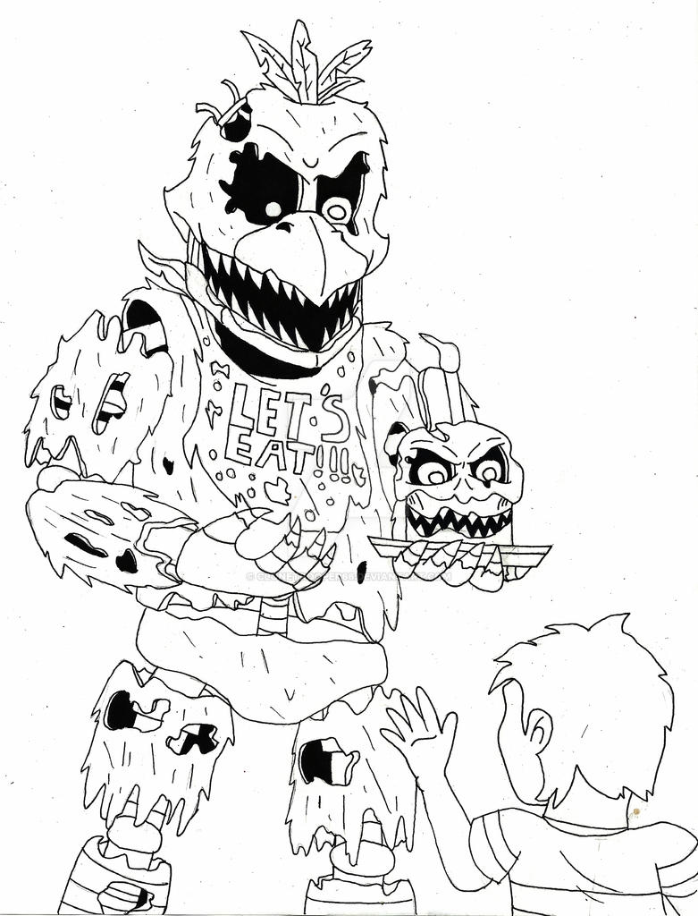 Nightmare chica sketch by clonetrooper66 on deviantart for Fnaf coloring pages nightmare