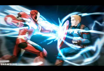 Captain America vs Iron man by shamserg