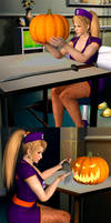 Day 1: Pumpkin Head - Sarah cut off herself (1)