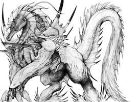 Lemurian Serpent Sea Horse War Steed by ChuckWalton
