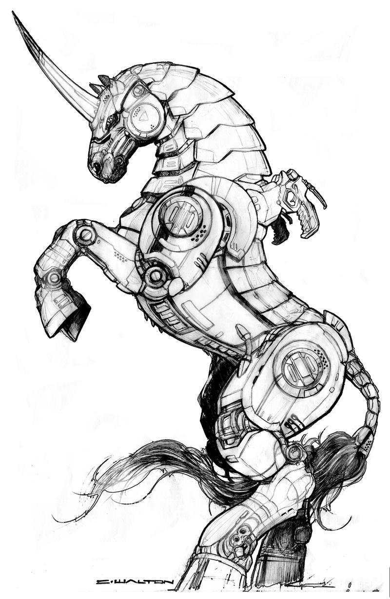 black market robot steed unicorn by chuckwalton on deviantart
