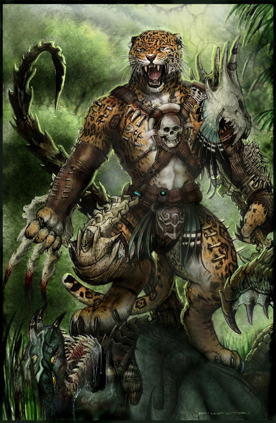 Anthro Panther Warrior Bone werejaguar path to apexby