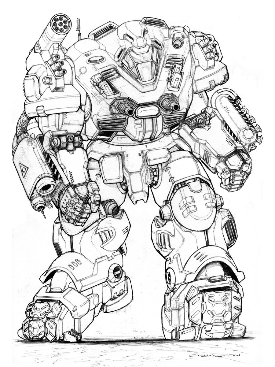 Line Art Robot : Rifts ng beach master robot by chuckwalton on deviantart