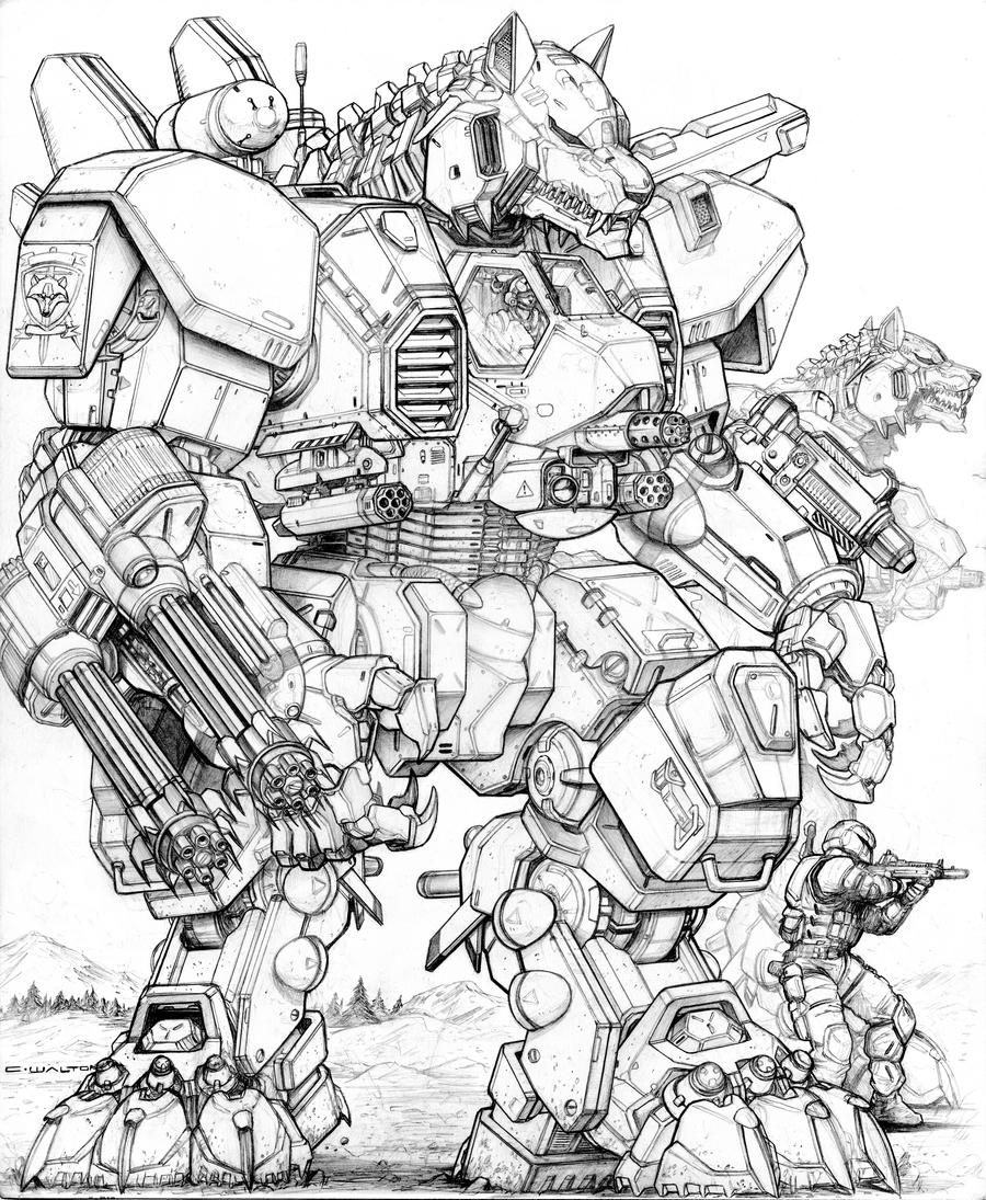 Line Art Robot : Rifts ng v gunwolf robot by chuckwalton on deviantart