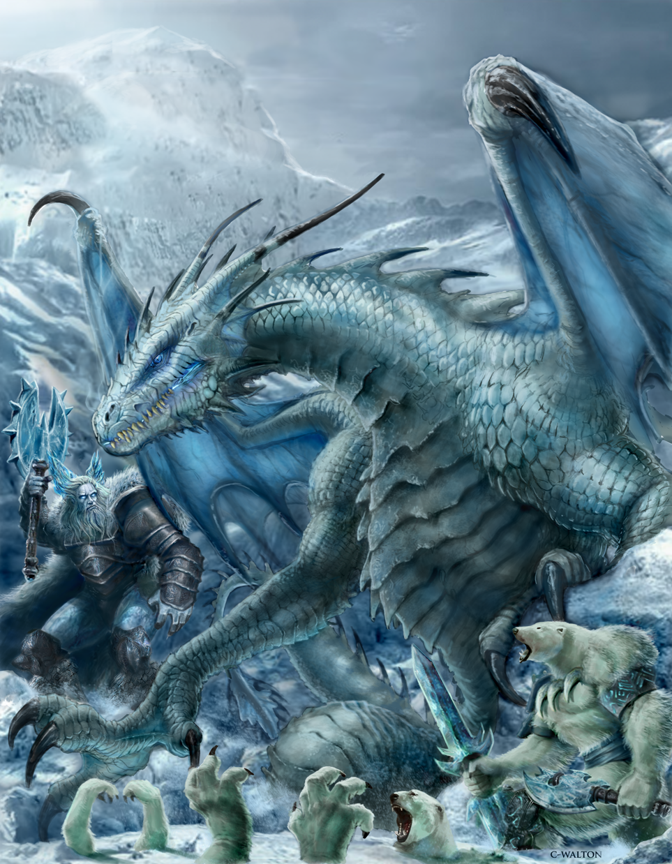 Frost Dragon: RIFTER 64 Palladium Fantasy Ice Dwellers Painted By