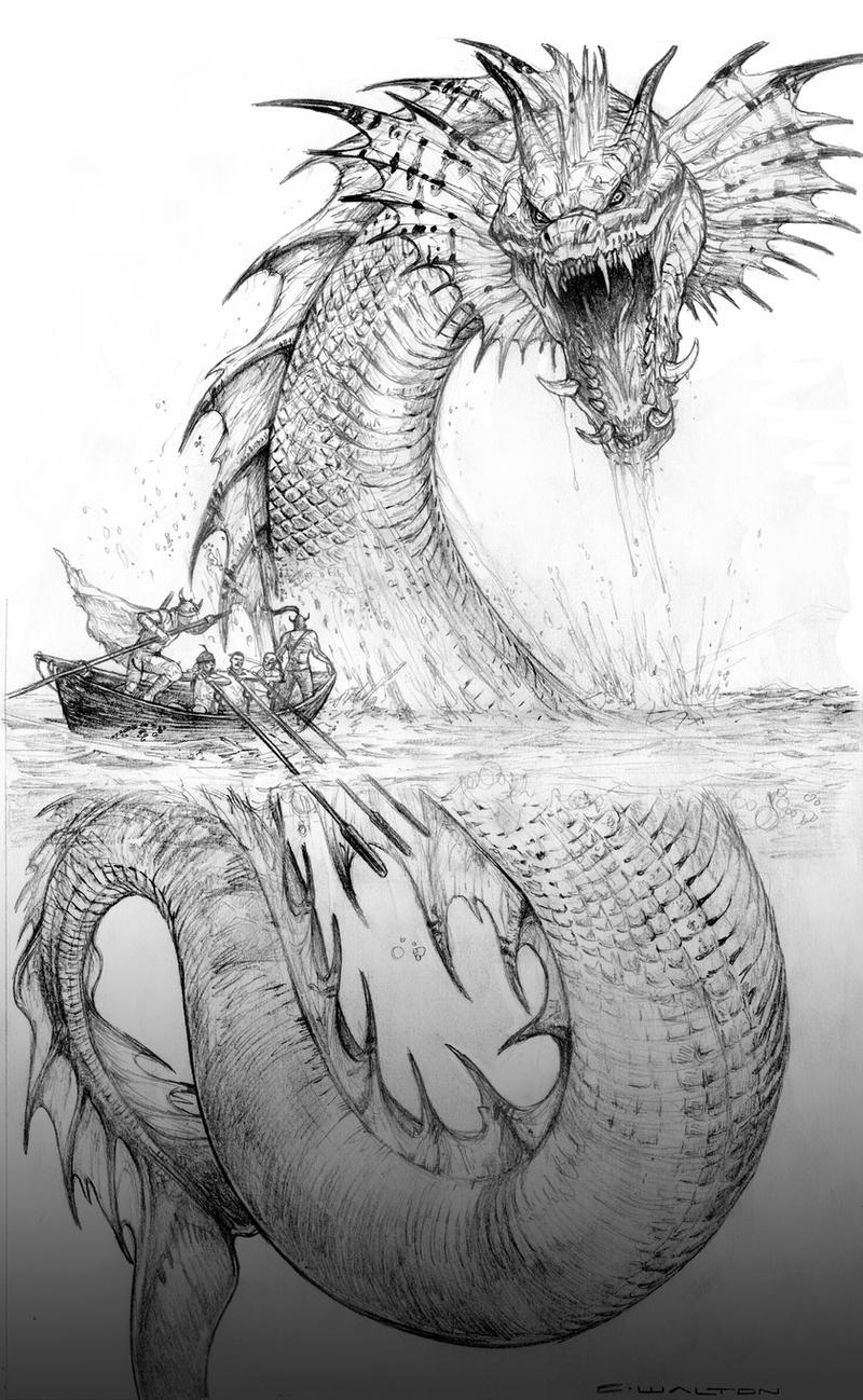 sea serpent coloring pages | Palladium Fantasy Jormund Serpent by ChuckWalton on DeviantArt