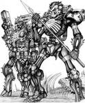 Skelebot Operator and Skeleborgs - quarter gray