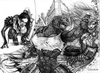 Werejaguar vs AssassinVampire by ChuckWalton