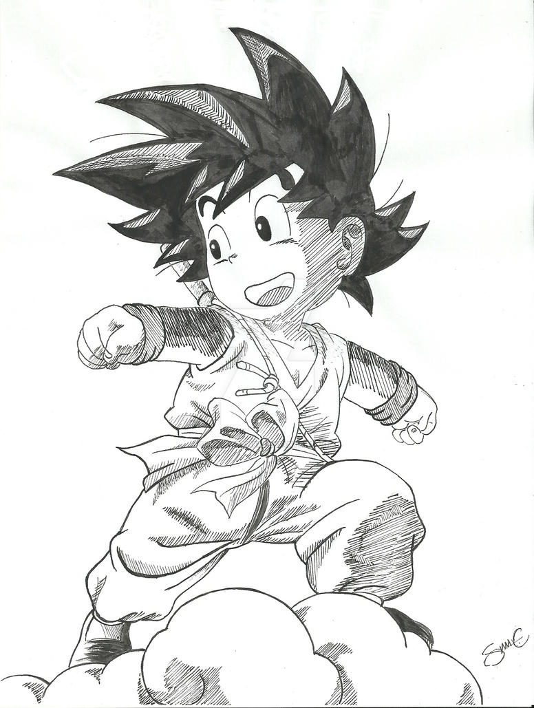 This is a picture of Versatile Goku On Nimbus Drawing