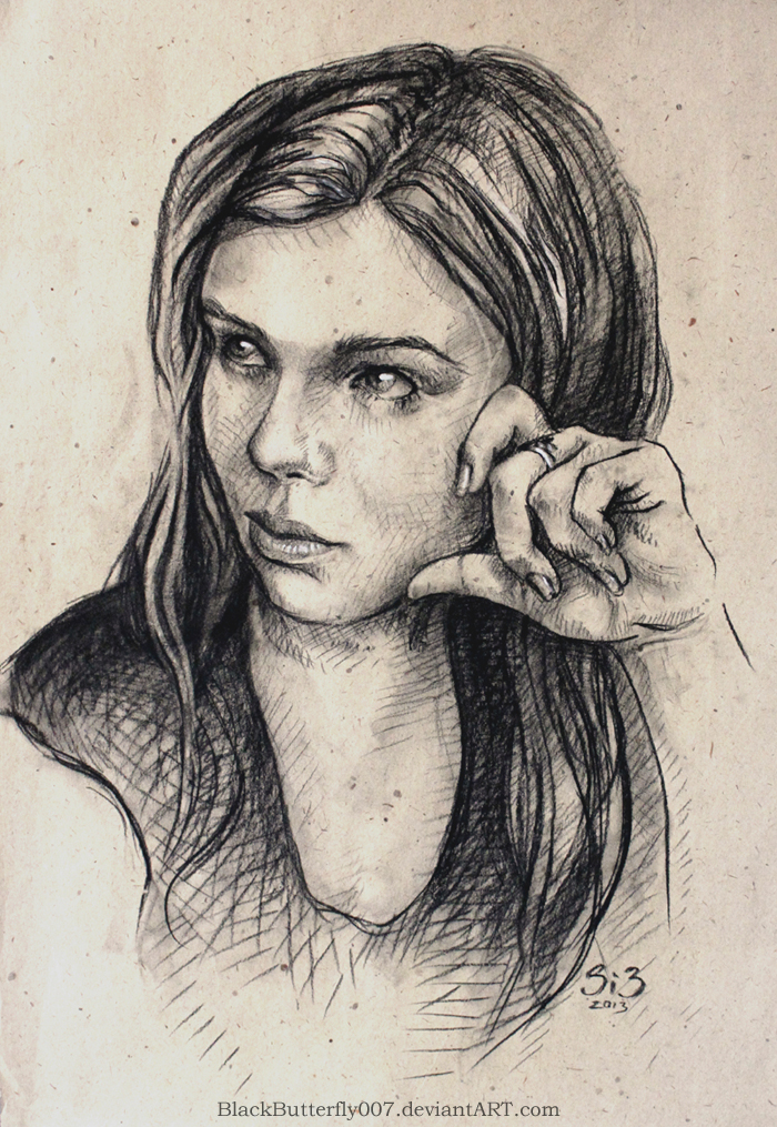 Charcoal Selfportrait by Si3art