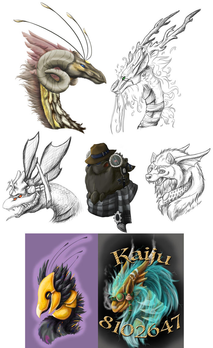 Flight Rising Dragon Headshot group by Samishii-Kami