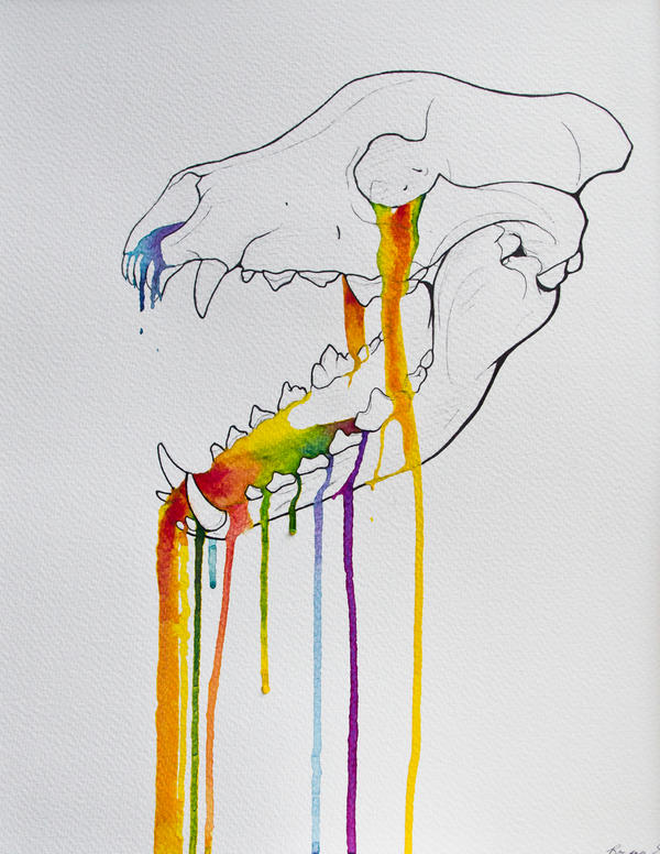 Wolf Skull Rainbow Drip by Samishii-Kami