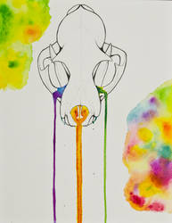 Bobcat Skull Ranbow Drip Large by Samishii-Kami