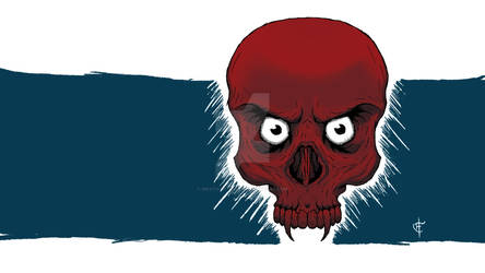 Red Skull With Eyes