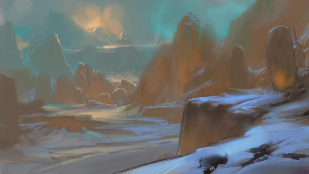 Cold Landscape Sketch by noahbradley