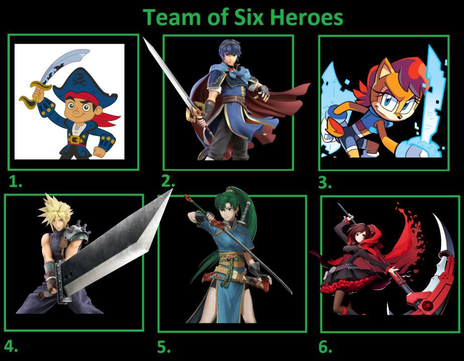 Jake's Team of Six Heroic Swordsmen