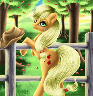 Applejack at the Fence