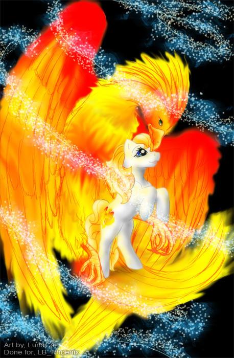 Magic Phoenix and the Pony by FlyingPony