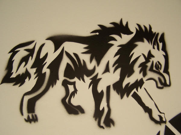 wolf stencil sprayed by blinding sun on deviantart. Black Bedroom Furniture Sets. Home Design Ideas
