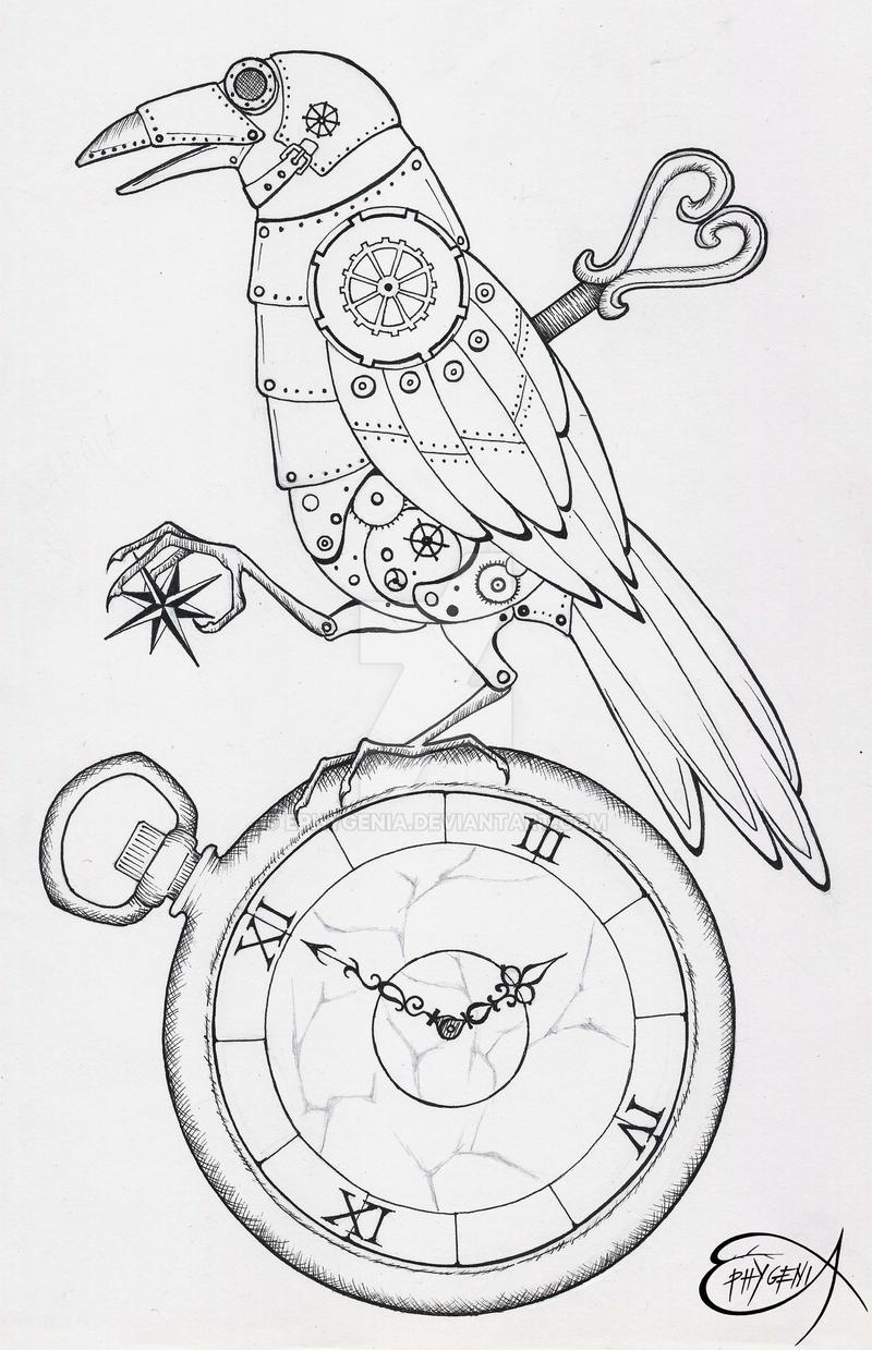 Steampunk Clockwork Raven WIP by EpHyGeNiA