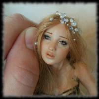 16 Spring Fairy sculpture ooak, 1 inch head